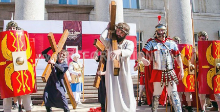 Пасхальна реконструкція біблійних подій останніх днів Ісуса та Його воскресіння відбулася в Кропивницькому на центральній площі міста